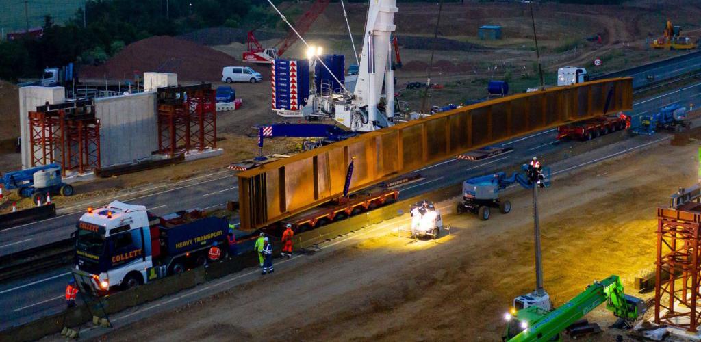 Nighttime transport of steel girder by Collett