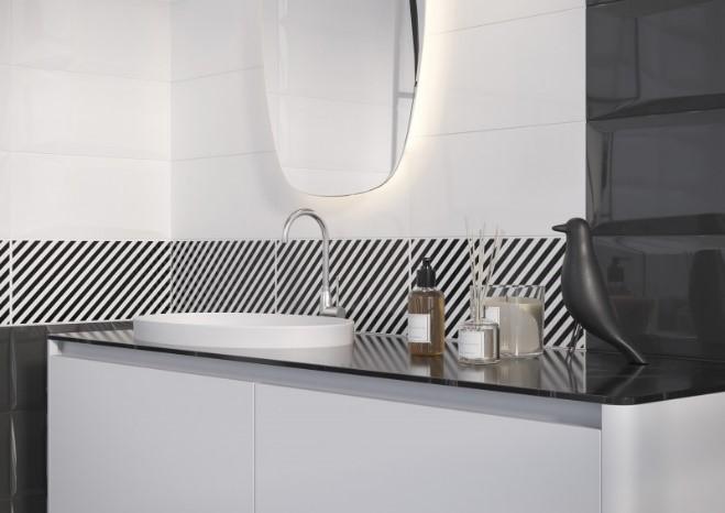 Черно-белая ванная Cersanit