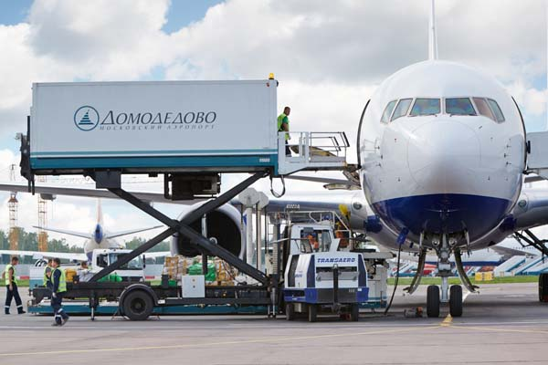 Aeroplane being loaded at Sheremetyevo